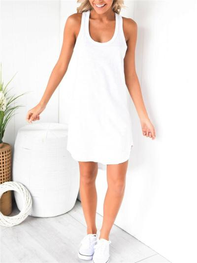 Laid-Back Style Scoop Neck Racerback Curved Hem Sleeveless Thigh-Length Vest Dress
