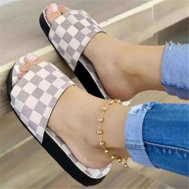 Comfortable Front Checked Print Slip-On Open-Toe Platform Sole Flat Slippers