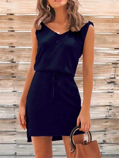 Straight Silhouette V Neck Tie-Strap Sleeveless Waist Drawstring Thigh-Length Knitted Dress