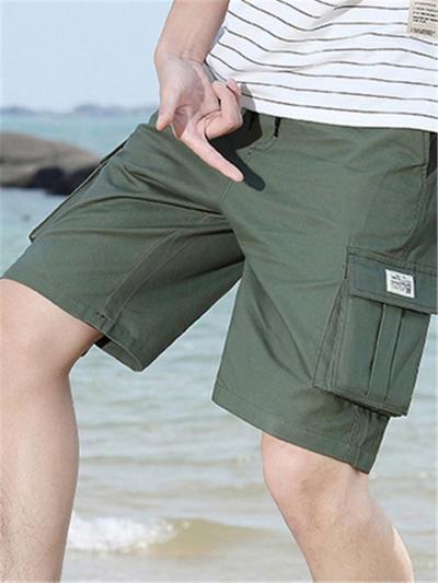 Mens Fashion Casual Loose Cotton Cargo Knee Shorts