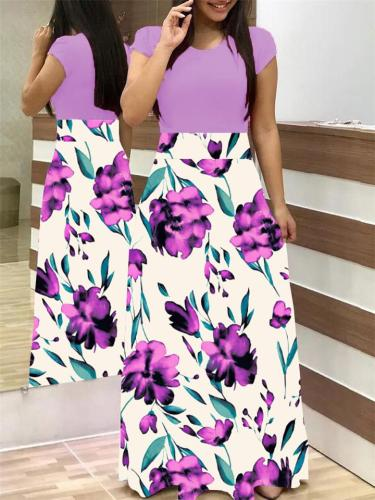 Stylish Flared Style Floral Print Round Neck Short Sleeve Fitted Waist Full-Length Dress