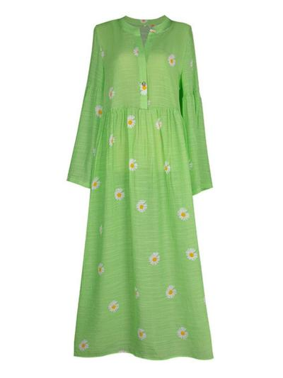 Oversized Style Daisy Print Button Fastening Long Sleeve Pleated Flared Full Length Dress