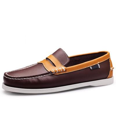 Men's Fashion Patchwork Leather Boat Shoes