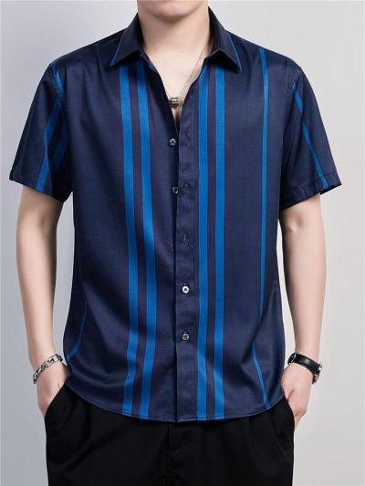 Mens Soft Striped Summer Short Sleeve Shirts