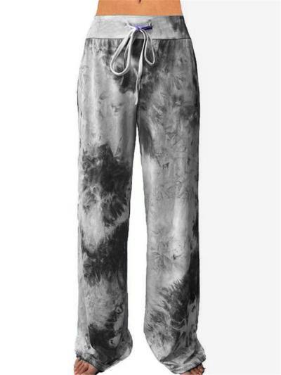 Straight Silhouette Drawstring Waistband Tie-Dyed Wide-Leg Full-Length Yoga Pants