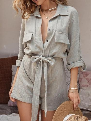 Relaxed Fit Lapel Collar Button Tie Fastening Chest Pocket Cotton-Linen Playsuit
