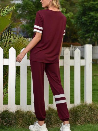 Workout Style 2-Piece Set Striped ShortSleeve T-Shirt + Elasticated Cuff Drawstring Pocket Pants