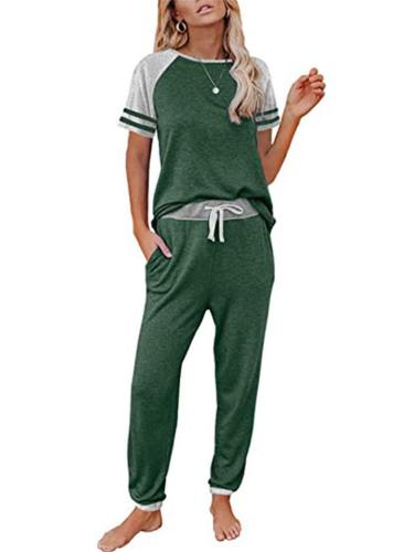 Relaxed Tracksuit 2-Piece Set Striped Contrast Color T-Shirt + Drawstring Pocket Sweatpants