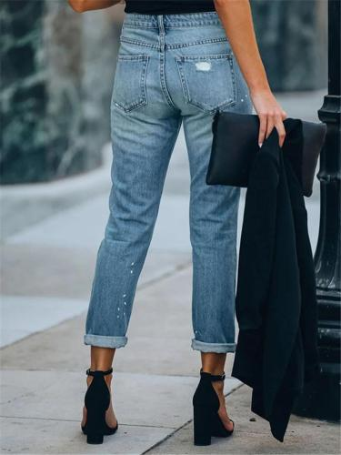 Casual Style Button Zip Fly Ripped Design Straight-Leg Washed-Effect Jeans