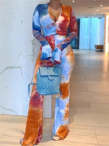 Multicolor Patchwork 2-Piece Set V Neck Long Sleeve Flare Cuff Top + Bell-Bottom Pants