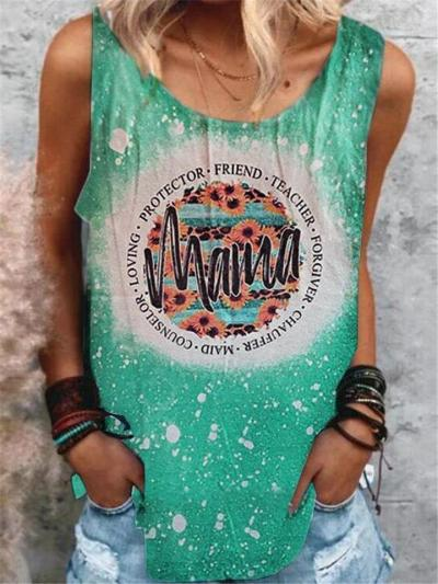 Relaxed Fit Scoop Neck Sleeveless Lettering Print Straight Hem Tank Top