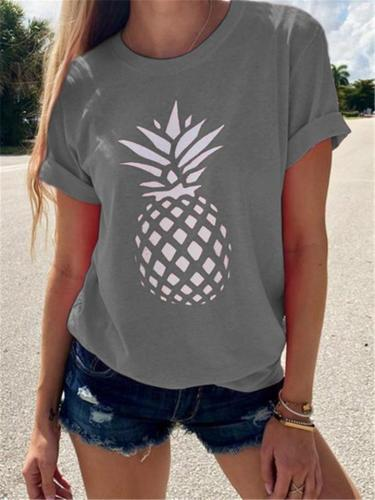 Relaxed Shape Round Neck Short Sleeve Pineapple Print Laid-Back T-Shirt