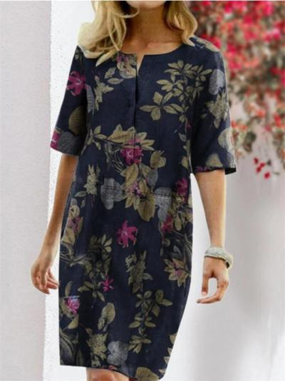 Straight Silhouette Front Button Fastening All-Over Floral Print 3/4 Sleeve Cotton-Linen Dress