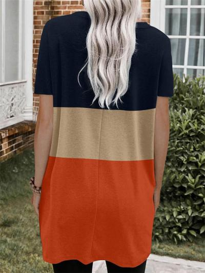 Straight Silhouette Pullover Short Sleeve Contrast Color Thigh-Length Pocket Dress