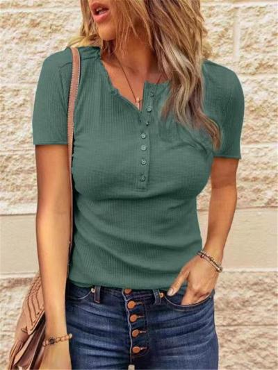 Slim Fit Round Neck Front Button Fastening Short Sleeve Ribbed Design Knit Top