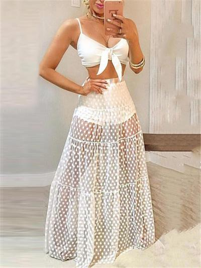 Sexy Flowy See-Through Style Lightweight Pleated Detailing Flared Maxi Skirt