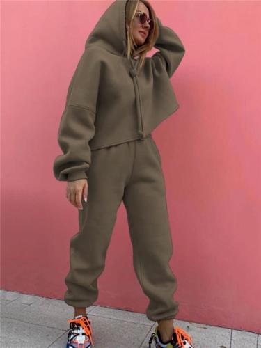 Loose Fit Comfortable 2-Piece Set Drawstring Hooded Sweatshirt + Elastic Cuff Sweatpants