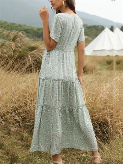 Flowy Plunging V Neck Short Sleeve Floral All-Over Print Pleated Detailing Maxi Dress