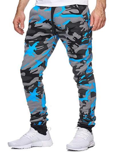 Mens Elastane MId Waist Camo Print Jogging Sports Pants