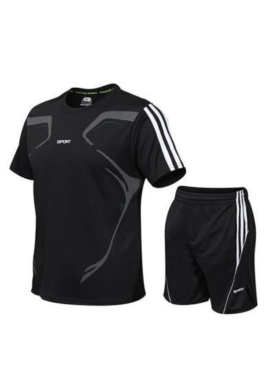 Mens Workout Lightweight Training Short Sleece T-Shirts+Shorts