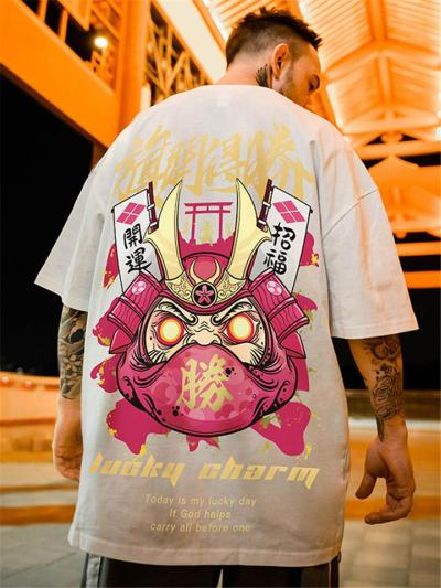 Mens Fashion Oversized Cartoon Print Short Sleeve T-Shirts