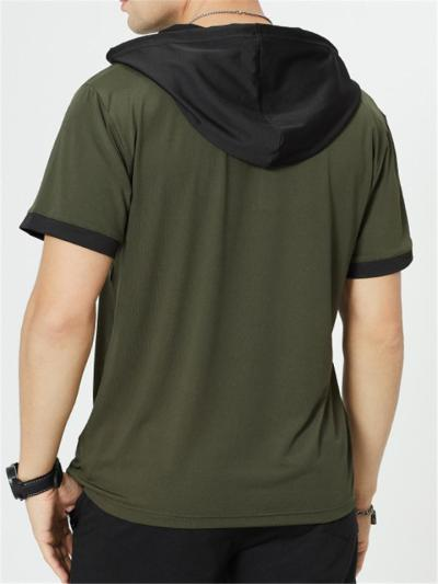 Mens Casual Patchwork Fashion Short Sleeve Hooded T-Shirts
