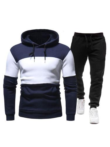 Mens Workout Patchwork Hooded Hoodies+Pants