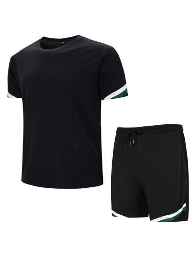 Mens Outdoor Breathable Lightweight Running Sports T-Shirts+Shorts