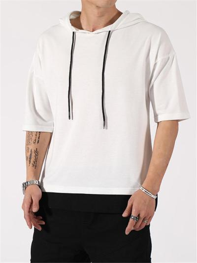 Mens Fashion Casual Patchwork Fake Two Pieces T-Shirts