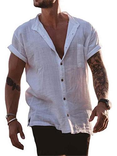Mens Light Cotton Solid Color Short Sleeve Shirts