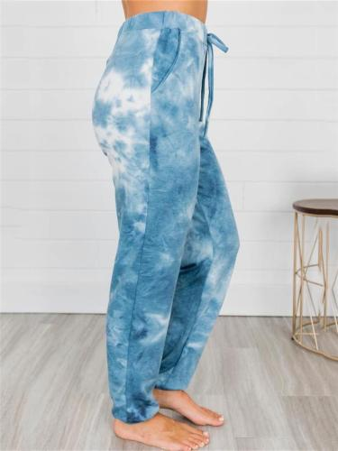 Tapered Fit Drawstring Tie-Dyed All-Over Print Elasticated Cuff High-Rise Pants