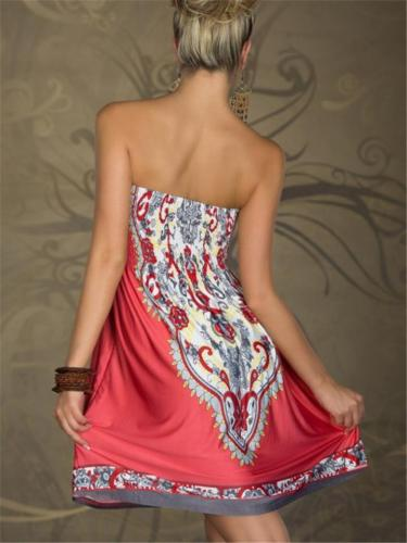 Soft Touch Strapless Graphic Print Strongly-Stretchy High-Waist Pleated Thigh-Length Dress