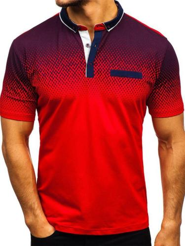 Mens Casual Dot Print Fashion Short Sleeve Shirts