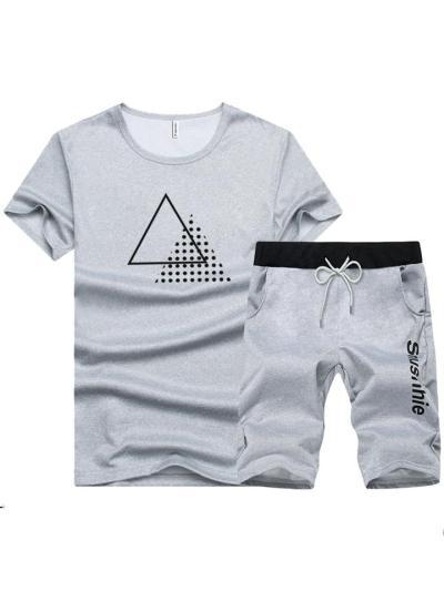 Mens Sports Print Comfy Short Sleeve T-Shirts+Shorts