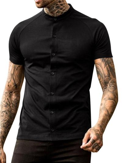 Mens Casual Plain Full Buttons Solid Color Short Sleeve Shirts