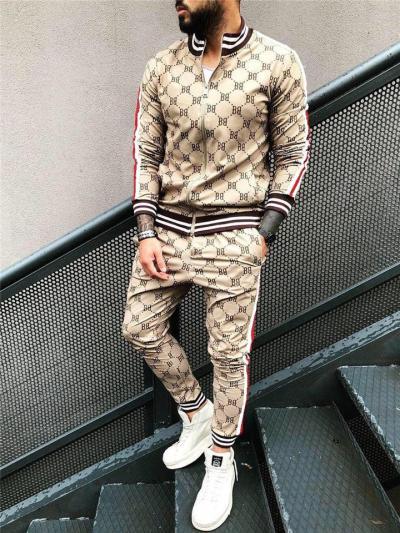 Mens Slim Pfit Print Zipper Sports Long Sleeve Outwears+Pants