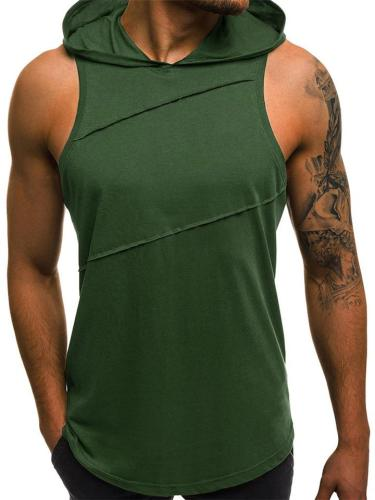 Mens Casual Patchwork Sleeveless Training T-Shirts