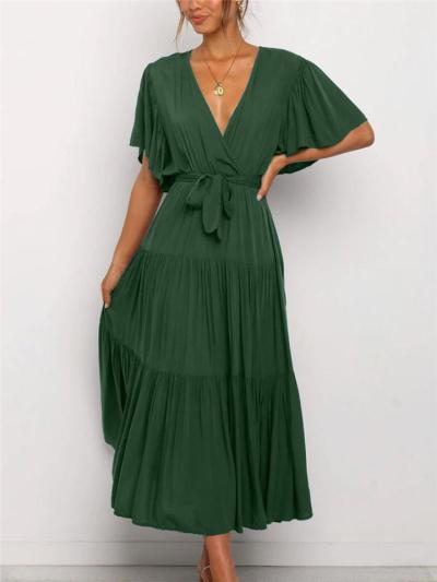 Wrap V Neck Pleated Ruffled Detailing Waist Tie Fastening Short Sleeve Dress