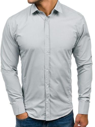Mens Business Slim Fit Fashion Solid Color Long Sleeve Shirts