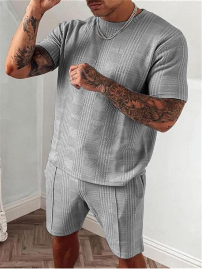 Mens Fashion Casual Plaid Comfy Short Sleeve T-Shirts+Shorts