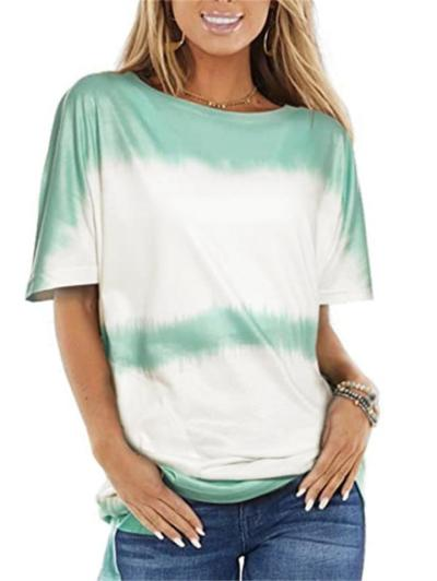Loose Fit Relaxed Round Neck Short Sleeve Tie-Dyed Print Straight Hem T-Shirt