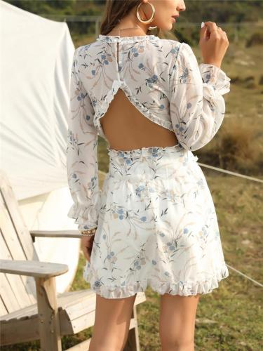 Plunging V Neck Elastic Cuff Floral All-Over Print Pleated Detailing Thigh-Length Dress