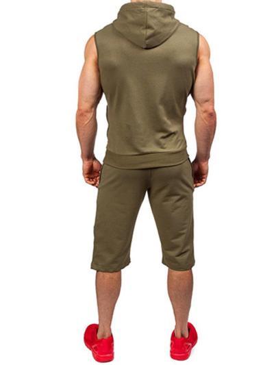 Mens Loose Fashion Casual Sleeveless T-Shirts+Shorts