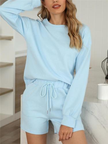 Leisure Wear Pajama 2-Piece Sets Long Sleeve Top + Drawstring Pocket Shorts