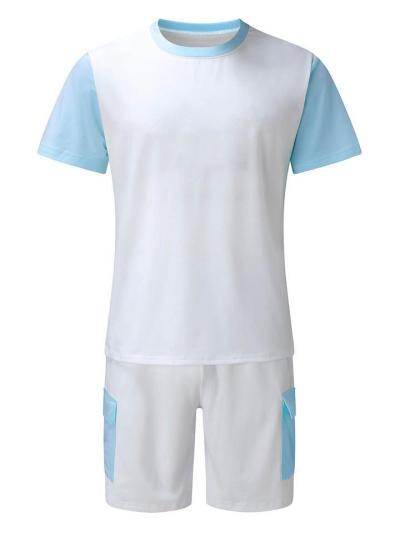 Mens Fashion Casual Patchwork Short Sleeve T-Shirts+Shorts
