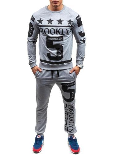 Mens Fashion Cool Number Print Long Sleeve T-Shirts+Pants