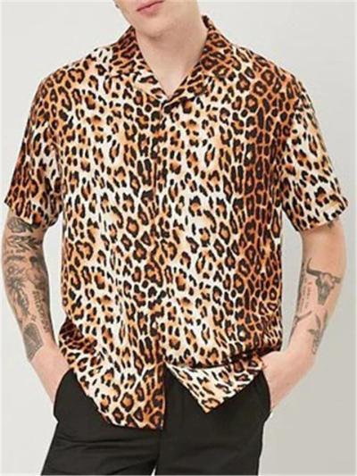 Mens Leapord Print Casual Short Sleeve Shirts