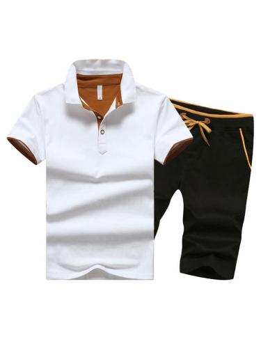 Mens Fashion Breathable Casual Patchwork Sports Shirts+Shorts