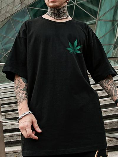 Mens Fashion Hip Hop Oversized Leave Print Short Sleeve T-Shirts