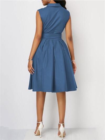 Wrap V Neck Pleated Detailing Waist Tie Fastening Sleeveless Knee-Length Pocket Dress